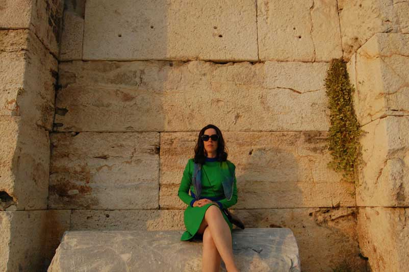 Magda on Stone Bench Backstage of the Herodes Atticus Theater