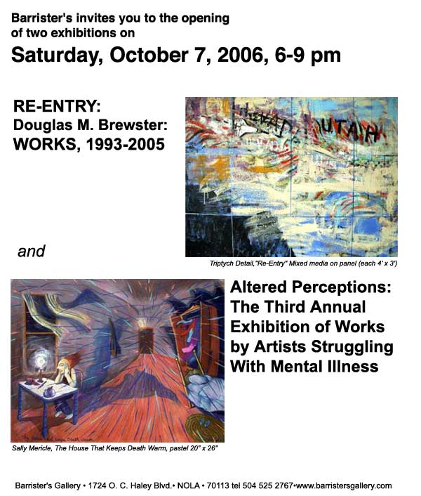 Brewster, mental illness, Barrister's Gallery of New Orleans, Visionary Art, outsider art